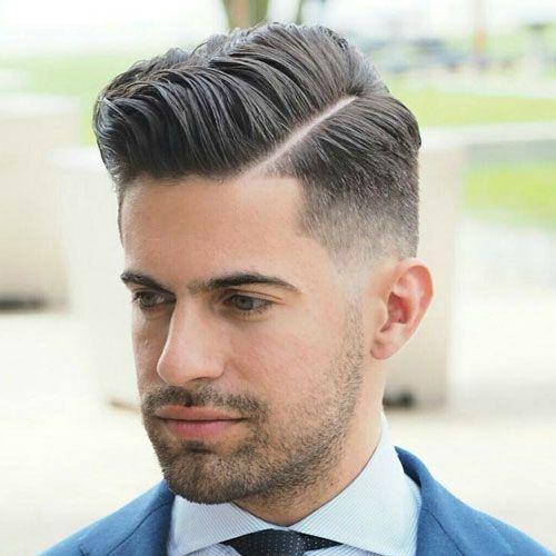 mens medium length hairstyle hard side part