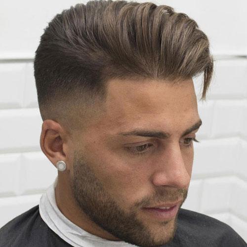 mens medium length hairstyle high fade