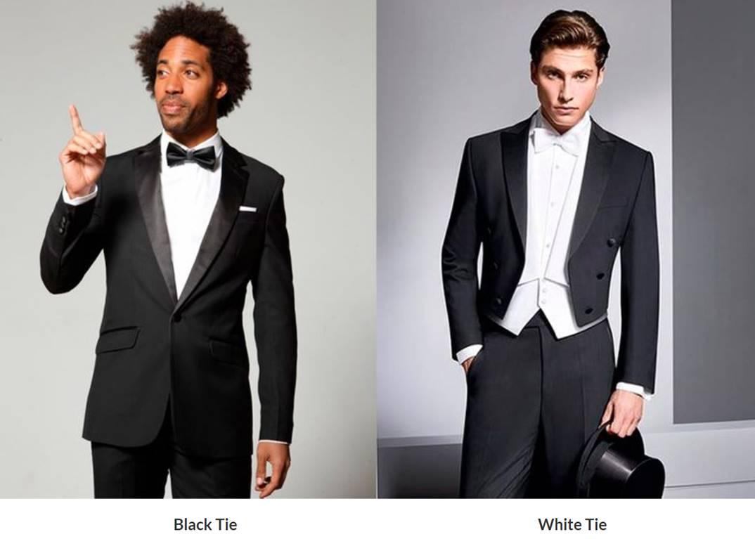 white-tie vs black tie formal dress code