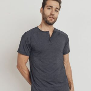 STRIPED THREE BUTTON HENLEY SHORT SLEEVE SHIRT-square