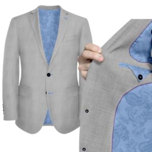 Grey Suit With Blue Paisley Uniform