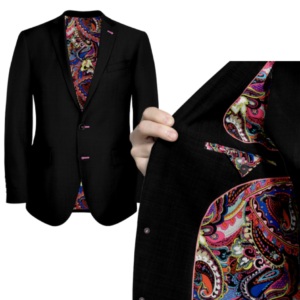 Black Suit With Pink Paisley Lining