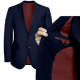 Navy With Red Solid Lining