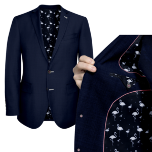 Navy With Flamingo Lining