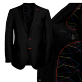 Black Suit With red abstract Lining