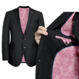 Charcoal Grey With pink paisley solid Lining